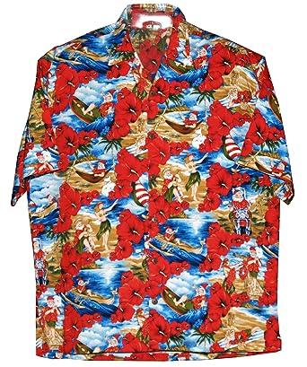 RJC Mens Santa Claus Beach Fun Xmas Hawaiian Style Rayon Shirt at ...