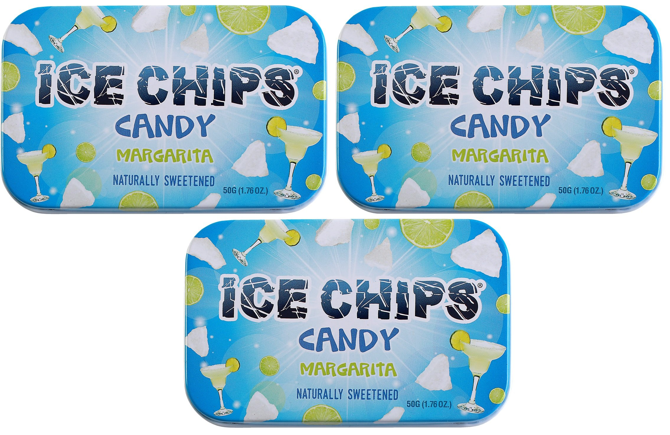 ICE CHIPS Xylitol Candy Tins (Margarita, 3 Pack) - Includes BAND as shown