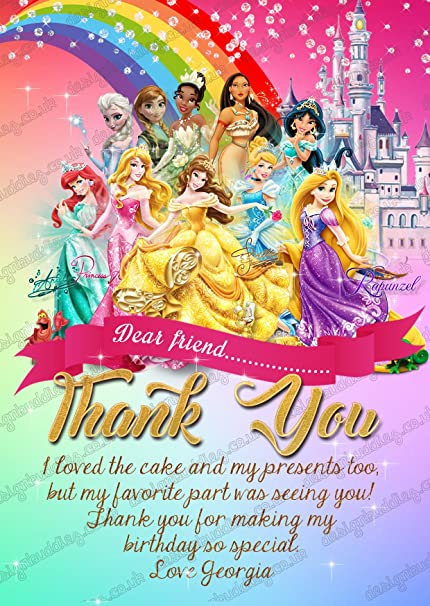 personalised disney princess birthday party thank you card disney