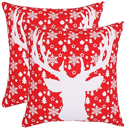 Isabella Beddings Throw Pillow Cases Cushion Covers 100% Cotton Eco-Friendly Christmas Series Santa Claus Xmas Deer Reindeer Home Decor for Sofa Couch ...