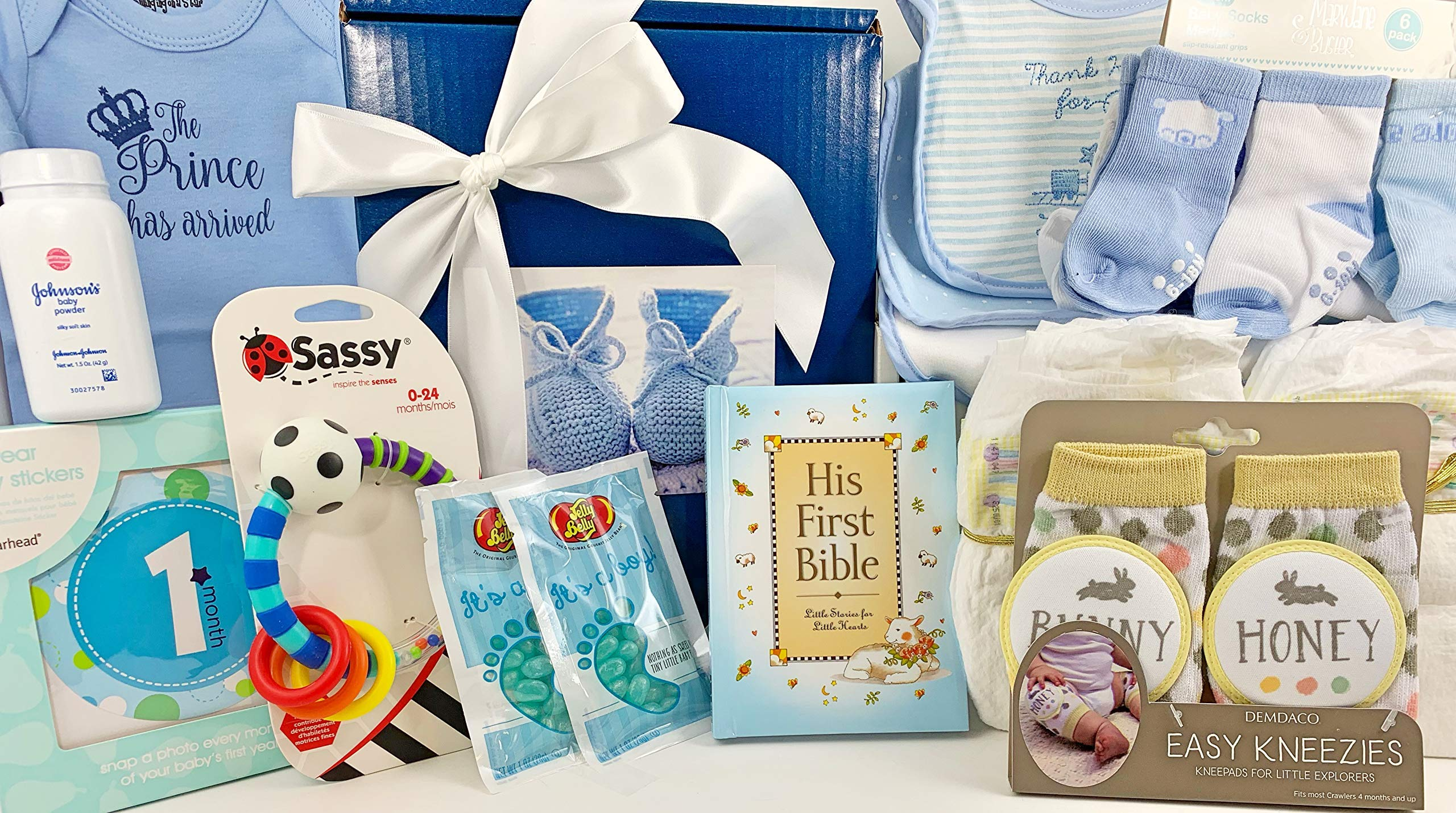 Baby Boy Gift Set Box Basket - 19 Items for the Newborn Bundle of Joy - Send Congratulations to the New Parents! Great for a Baby Shower Gift!