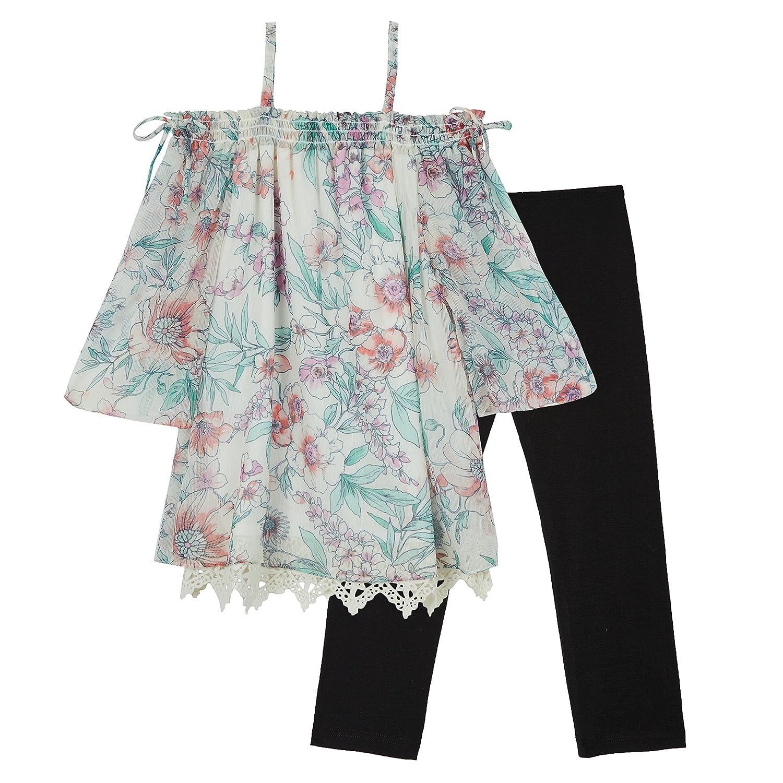 Amy Byer Girls Big Shoulder Top and Legging Outfit Set