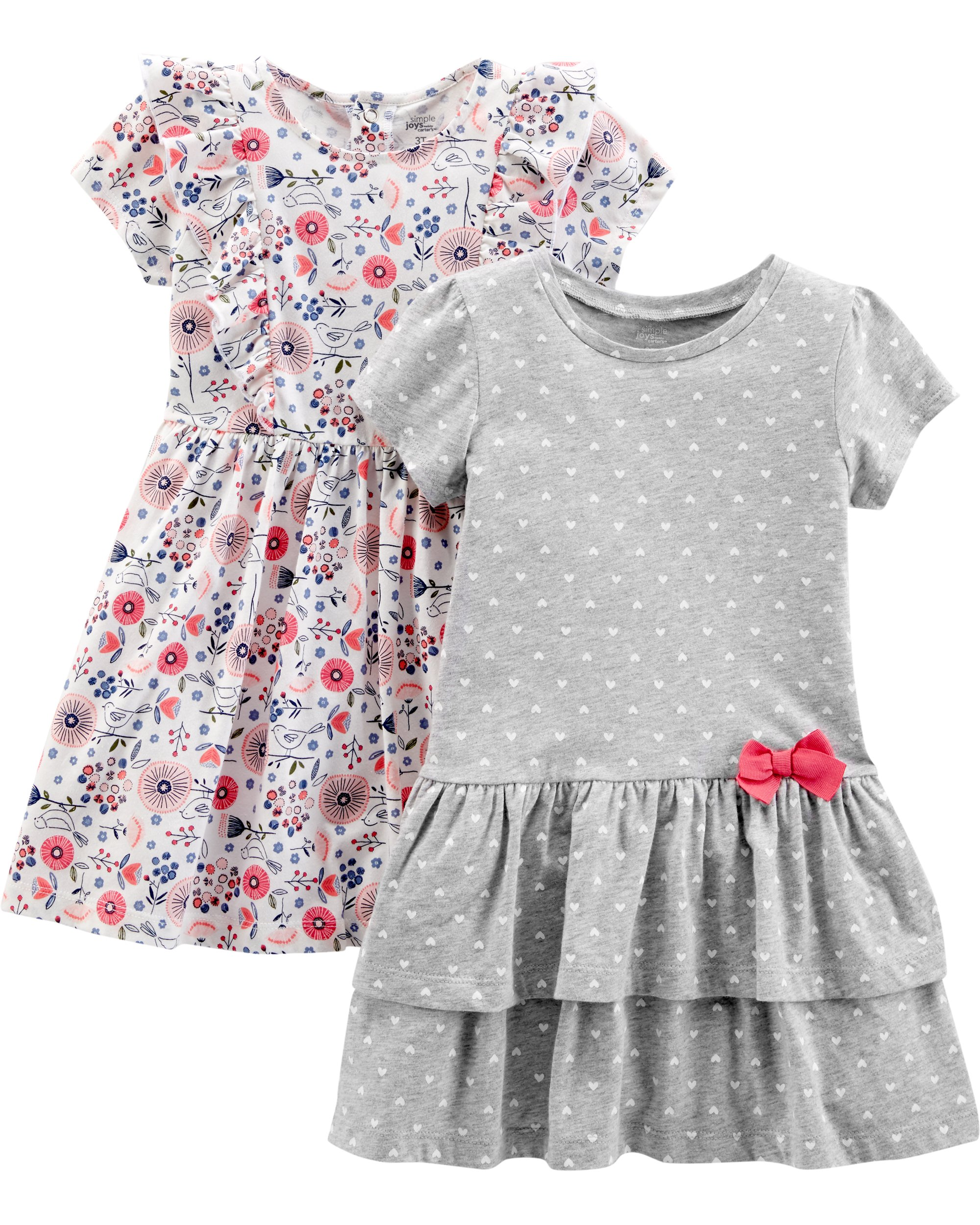0a6343d9148 Simple Joys by Carter's Baby and Toddler Girls' 2-Pack Short-Sleeve and