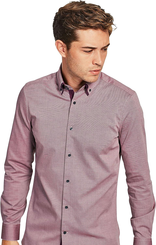 next Hombre Camisa Dos Cuellos Corte Regular Puño Simple Borgoña EU 53 Regular (UK 21R): Amazon.es: Ropa y accesorios