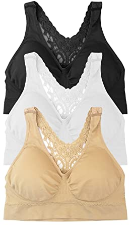 3fb3a514dd 3-Pack Butterfly Lace Back Women s Seamless   Wirefree Comfort Bra with  Removable Pads