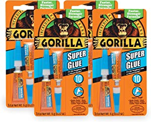 Gorilla Super Glue, Two 3 Gram Tubes, Clear, (Pack of 4)
