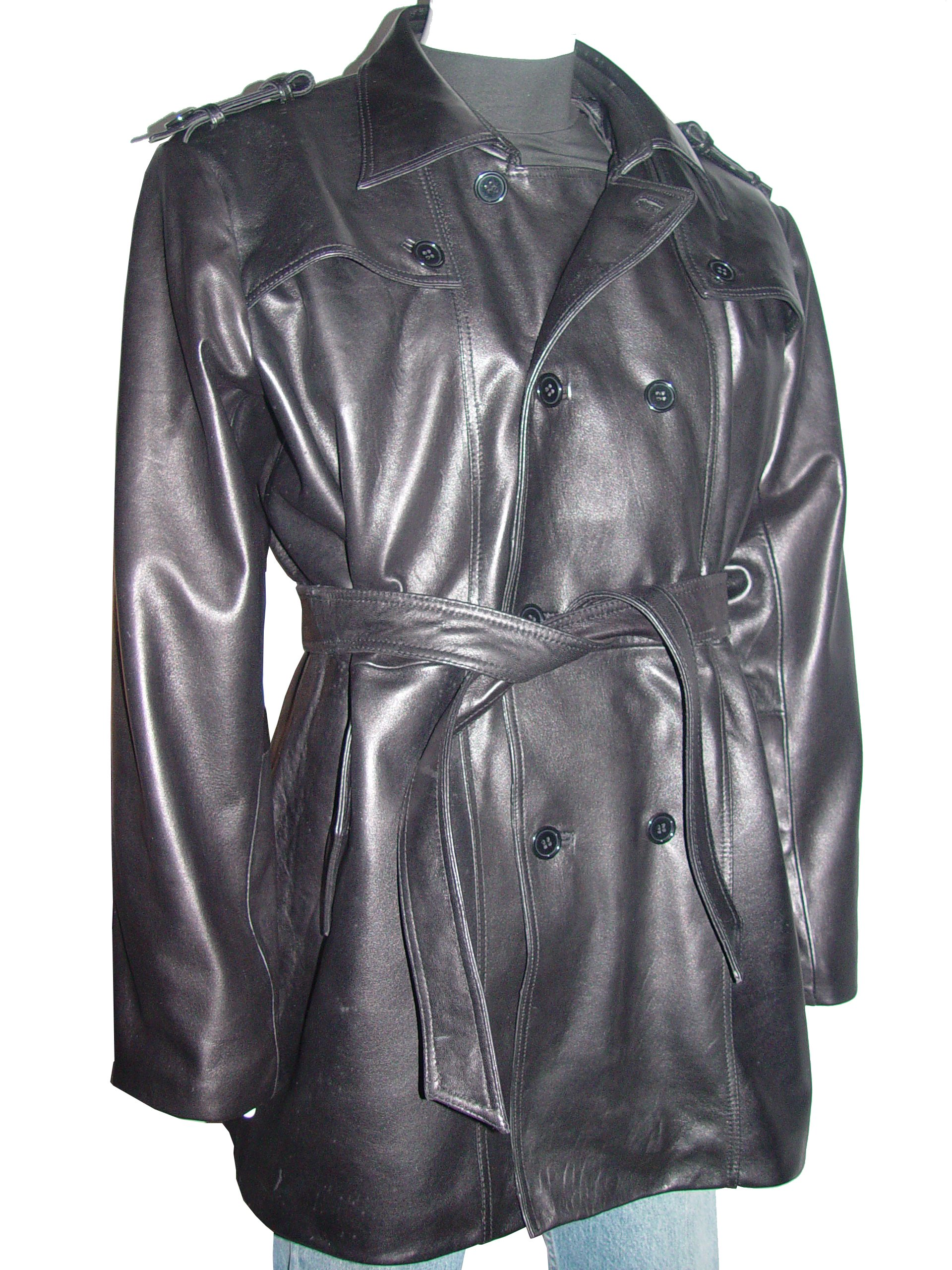 Nettailor 2041 Men Fine Clean Classic Black Leather Trench Coat