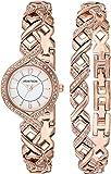 Armitron Women's 75/5412WTRGST Swarovski Crystal Accented Rose Gold-Tone Watch and Bracelet Set