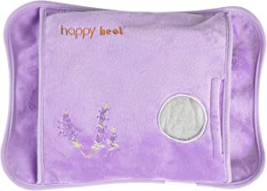 Happy Heat Electric Hand Warmer, Rechargeable Heating Pad- Hot Water Bag for Arthritis and Pain Relief, Lavender