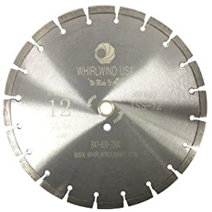 Whirlwind USA TSS 12-Inch Laser Welded Dry or Wet Cutting General Purpose Power Saw Segmented Diamond Blades for Concrete Stone Brick Masonry