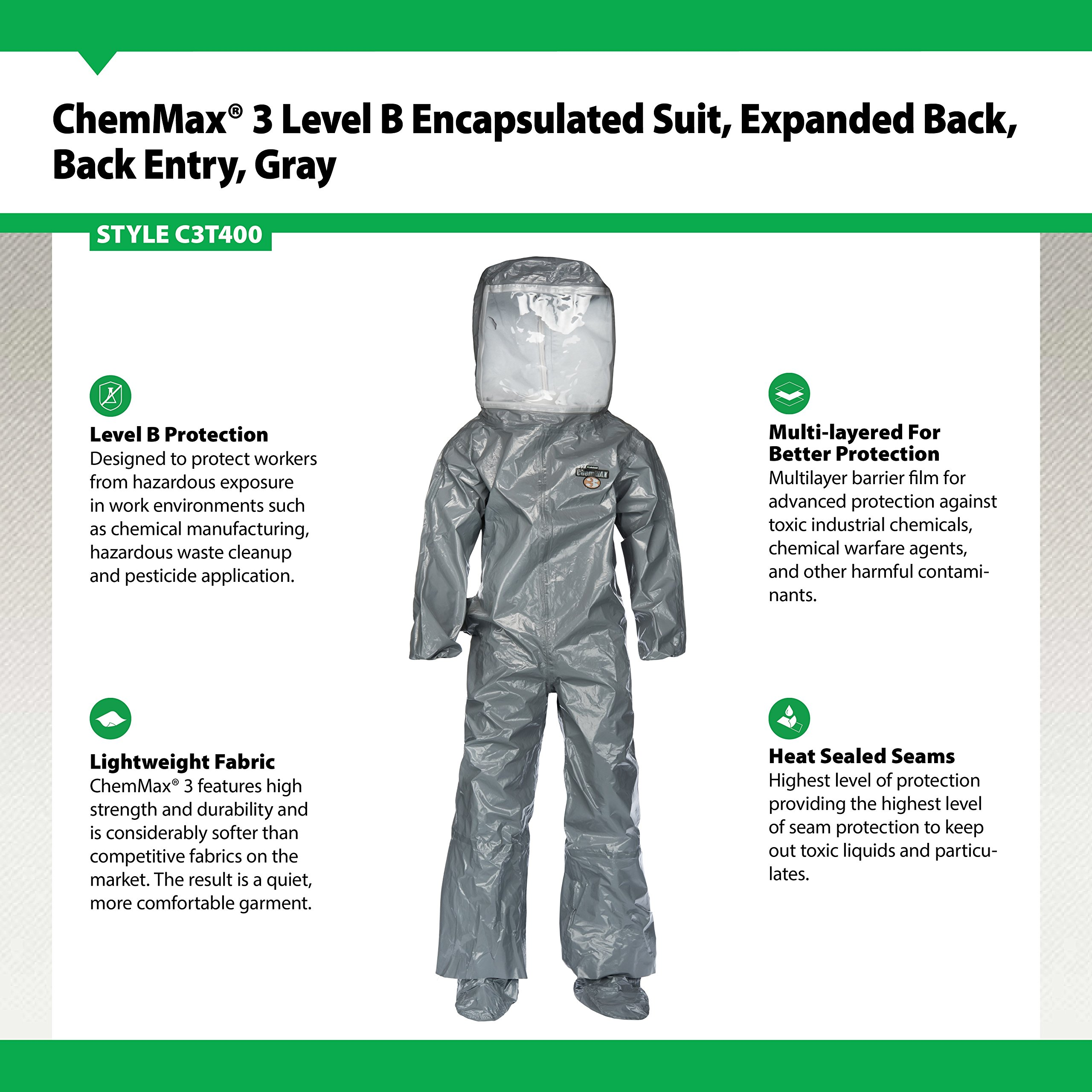 Lakeland ChemMax 3 TES Taped Level B Encapsulated Suit with Flat Back and Back Entry, Disposable, Elastic Cuff, 3X-Large, Gray by Lakeland Industries Inc (Image #2)