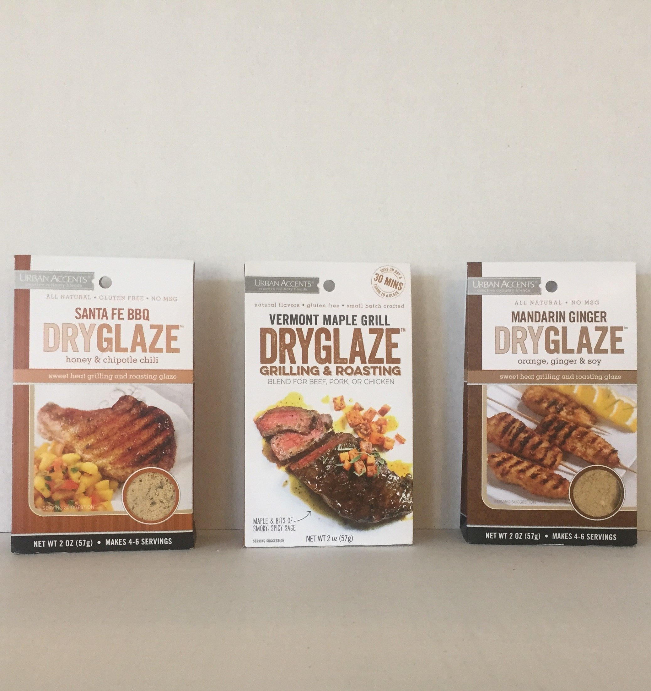 Urban Accents Variety Dryglaze Bundle: Santa Fe BBQ, Mandarin Ginger, and Vermont Maple Grill. Perfect for Grilling & Roasting. 2 oz Packages Each (3 Items)