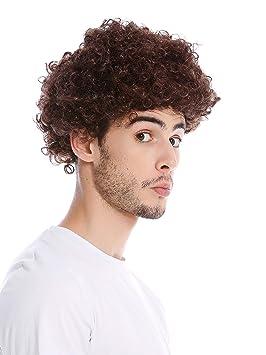 WIG ME UP ® - PW0186-P4 Peluca Mujeres Hombres Halloween Carnival Tonto rizos Rizado Afro Corto marrón