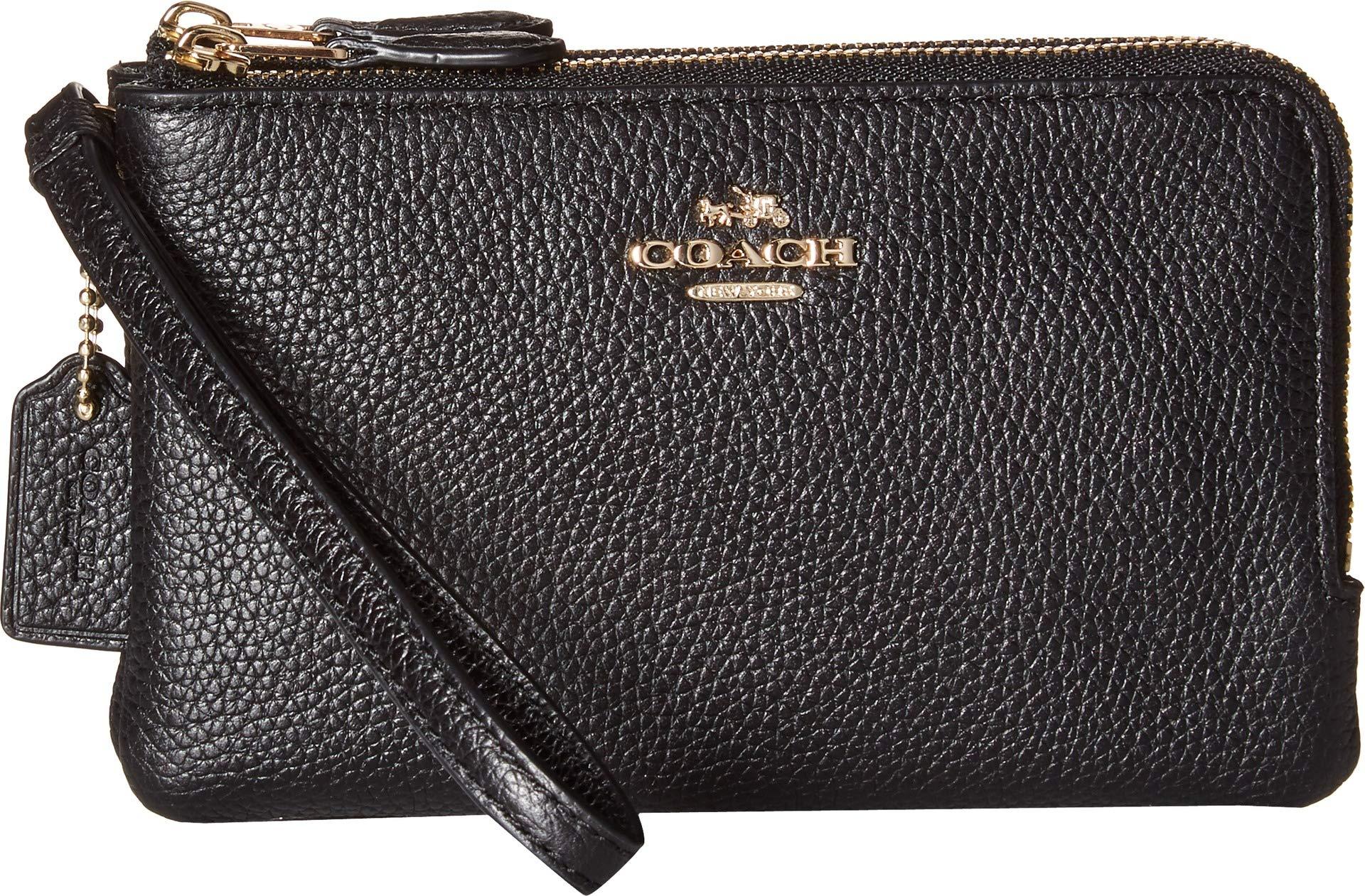 Coach Women's Polished Pebbled Leather Double Corner Zip Bag LI/Black Cell Phone Wallet