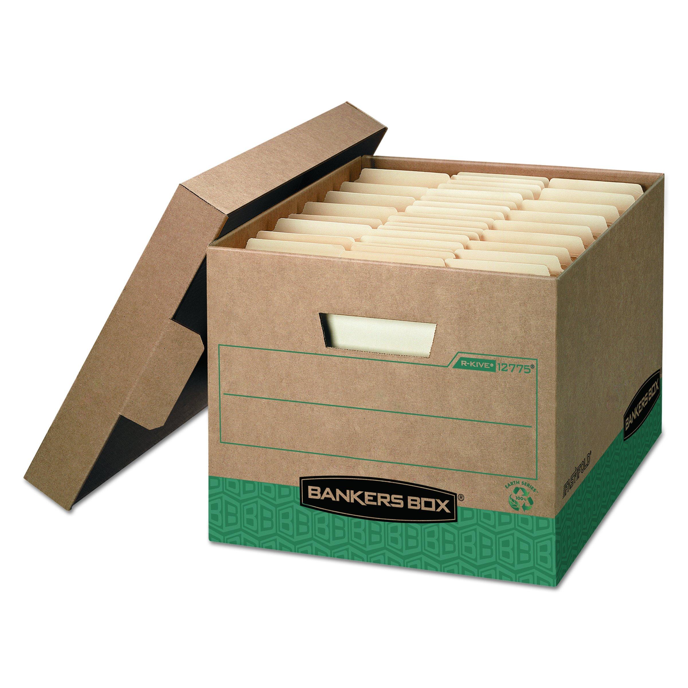 Bankers Box 12775 R-KIVE Storage Box, Letter/Legal, Locking Lift-off Lid, Kraft/Green (Case of 12)