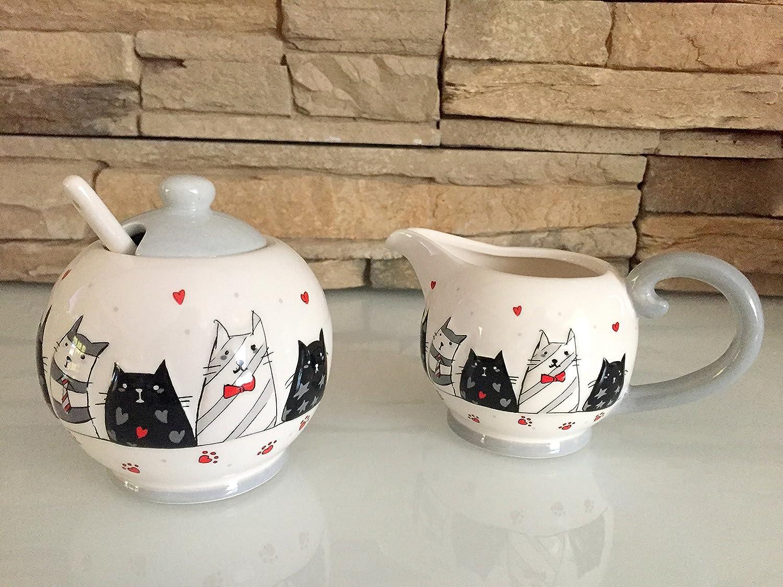 Milchkännchen & Zuckerdose m. Löffelchen Katzen Motiv Kaffee Tee ...