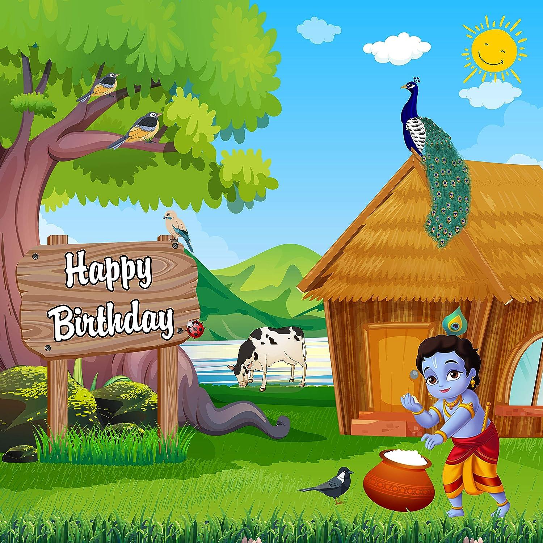 Party Bloom Krishna Theme Birthday Backdrop Decoration Background Banner Green 6x6 Ft Medium Amazon In Toys Games