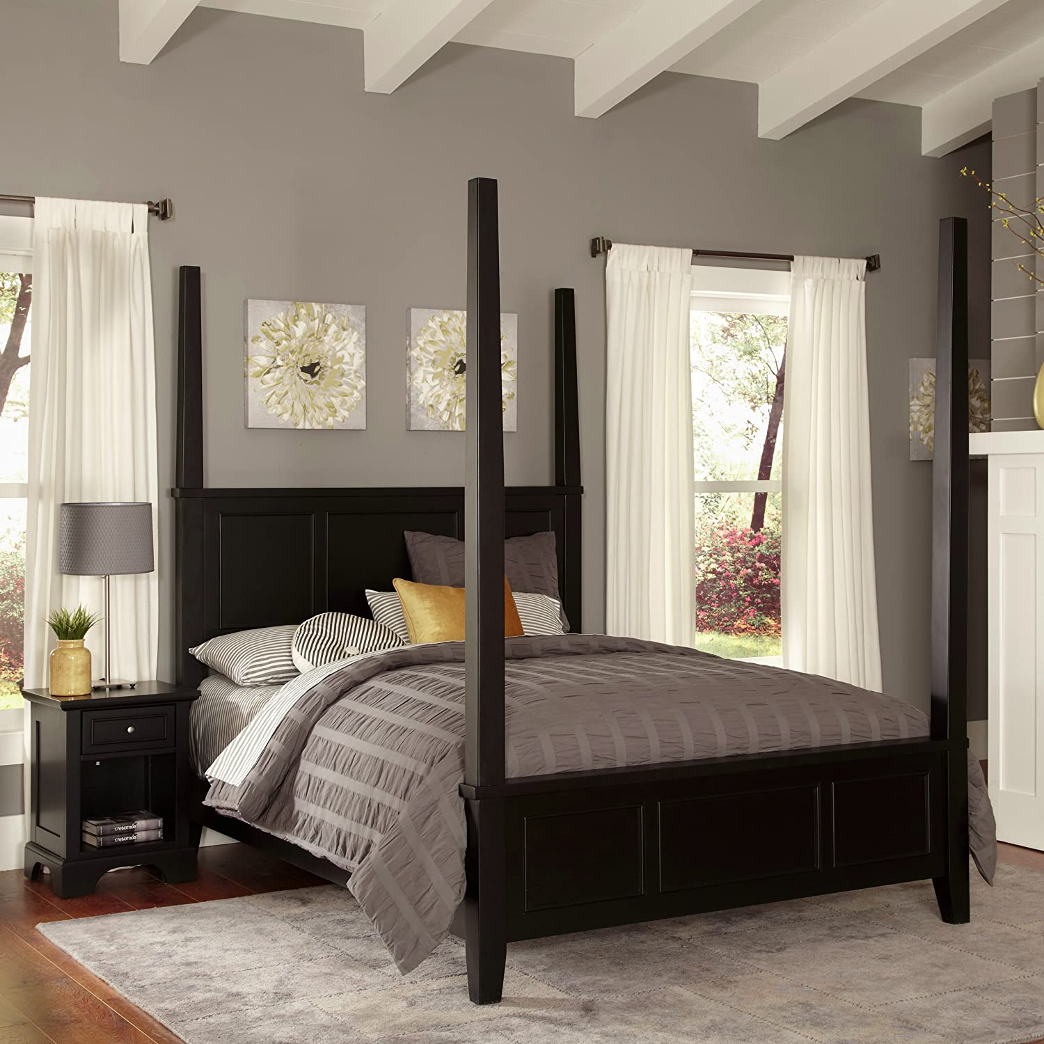 Home Styles Bedford Black Queen Poster Bed and Night Stand