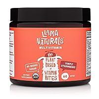 Llama Naturals Plant Based Vitamin Bites (Kids); Organic; No Added Sugar, Sweeteners or Synthetics; Vegan Multivitamin Gummies (C, D3, B12, Folate & More); 60 Real Fruit Bites (30 Days) (Strawberry)