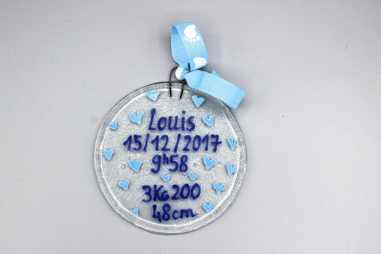 Boule de naissance -Grand modèle - garçon - bébé cadeau - naissance - baptême - fête prénatale - bleu - babyshower -verre fusionné