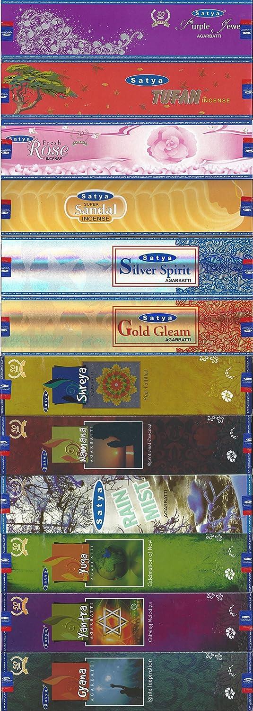 Super Sandal Tufan Set of 12 Satya Incense 20 Gram Incense Holder Included Rain Mist Silver Spirit Yantra Shreya Namana Gyana - Yoga Gold Gleam Fresh Rose Purple Jewel Shrinivas Sugandhalaya LLP