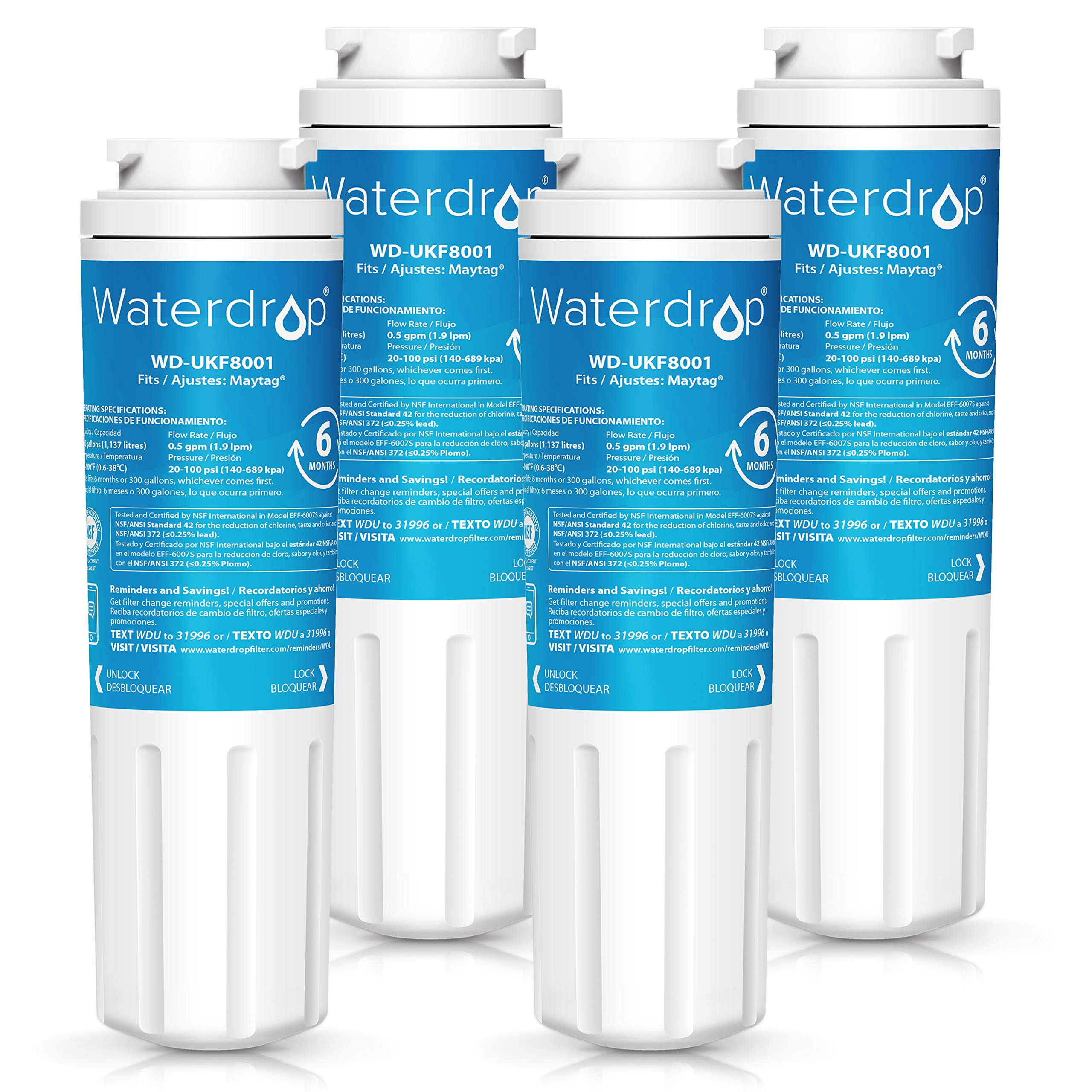Waterdrop UKF8001 Replacement Refrigerator Water Filter, Compatible with Maytag UKF8001, UKF8001AXX, UKF8001P, Whirlpool 4396395, 469006, EDR4RXD1, EveryDrop Filter 4, Puriclean II, Standard, 4 Pack by Waterdrop
