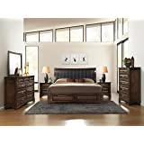 Roundhill Furniture B179KDMN2C Broval 179 Light Espresso Finish King Storage Bed, Dresser, Mirror, 2 Night Stands, Chest Wood Bed Room Set