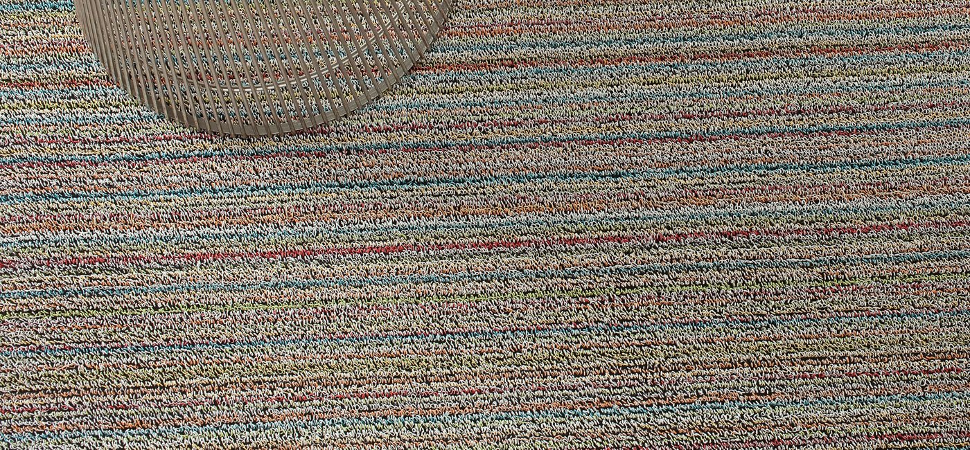 Chilewich Shag Skinny Stripe Floormat Runner 24'' X 72'' Soft Multi by Chilewich