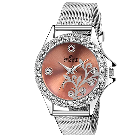 2910c7db999 Buy Swisstyle Classy Analogue Pink Dial Watch for Women with Silver Chain -  SS-LR097-PNK-CH Online at Low Prices in India - Amazon.in