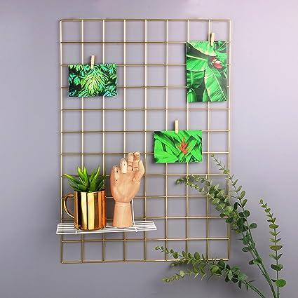 Amazon.com: Moonse Metal Mesh Grid Panel,Wall Decor/ Photo Wall ...