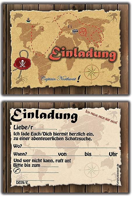 Set 10 Einladungskarten Kindergeburtstag Pirat Schatzkarte