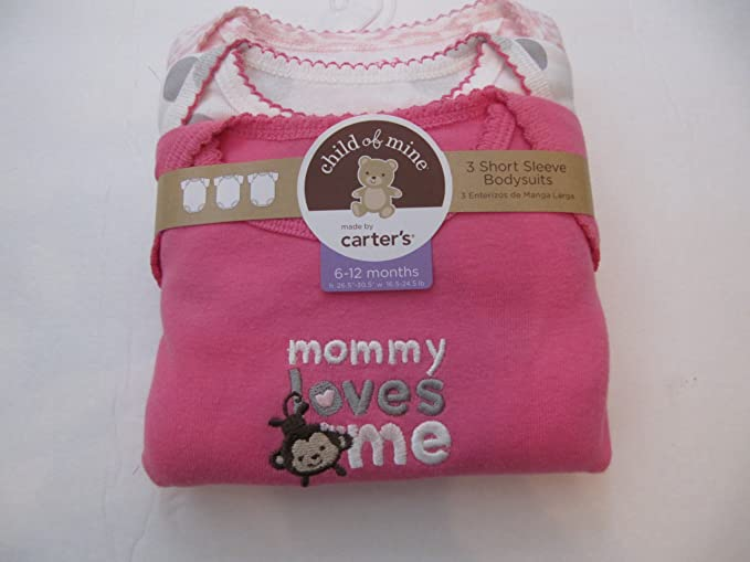 """d42f3ac45 Image Unavailable. Image not available for. Color: Carter's Child of Mine  """"Mommy Loves Me"""" Three Short Sleeve Bodysuits 6-"""