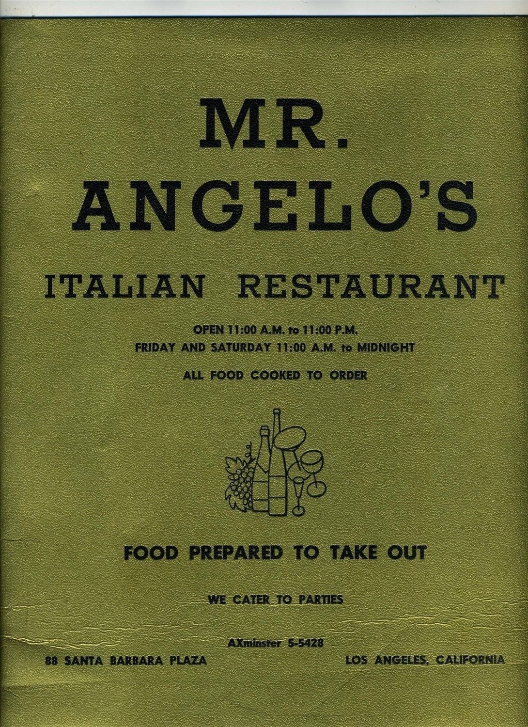 Amazon Com Mr Angelo S Italian Restaurant Menu Santa