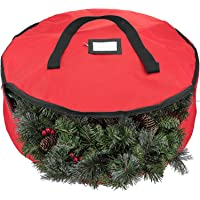 Zober Christmas Holiday Wreath Storage Bag - Premium 600D Oxford Tear Resistant Fabric Storage Bag for Storage with Sleek Zipper Featuring Transparent Card Slot for Labeling | 30 x 30 x 8 (Red)