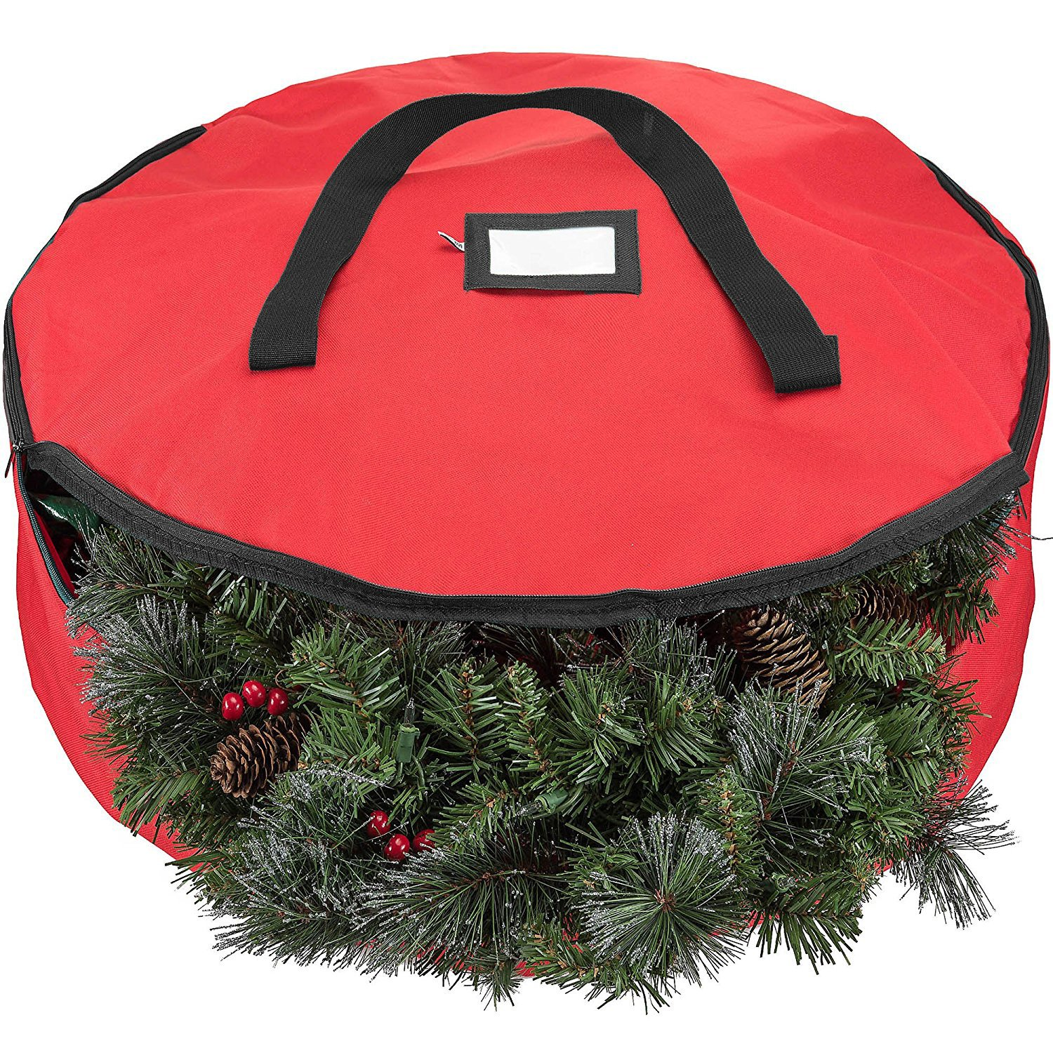 Zober Christmas Holiday Wreath Storage Bag - Premium 600D Oxford Tear Resistant Fabric Storage Bag for Christmas wreath with Sleek Zipper Featuring Transparent Card Slot for Labeling | 30 x 30 x 8 Red