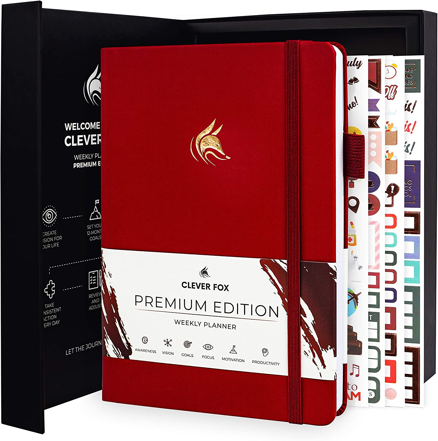 Clever Fox Planner Premium Edition - Luxurious Weekly & Monthly Planner to Increase Productivity and Hit Your Goals - Organizer - Undated, Start Anytime, A5, Lasts 1 Year, Wine Red (Weekly)