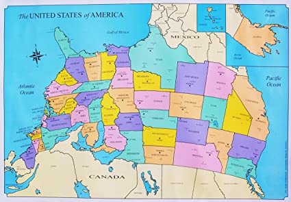 Amazoncom United States Map Upside Down 28x19 Full Color - Us-full-map