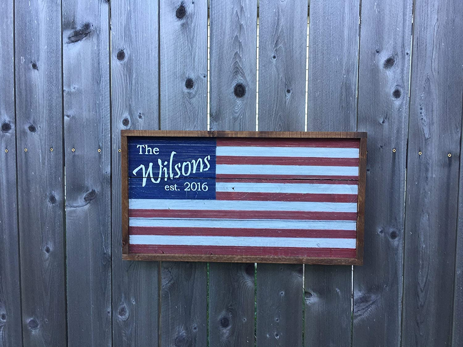 Personalized Wooden Flag//Barn Wood American Flag//Personalized Family Name Sign//Family Established Sign//Personalized Wedding Gift