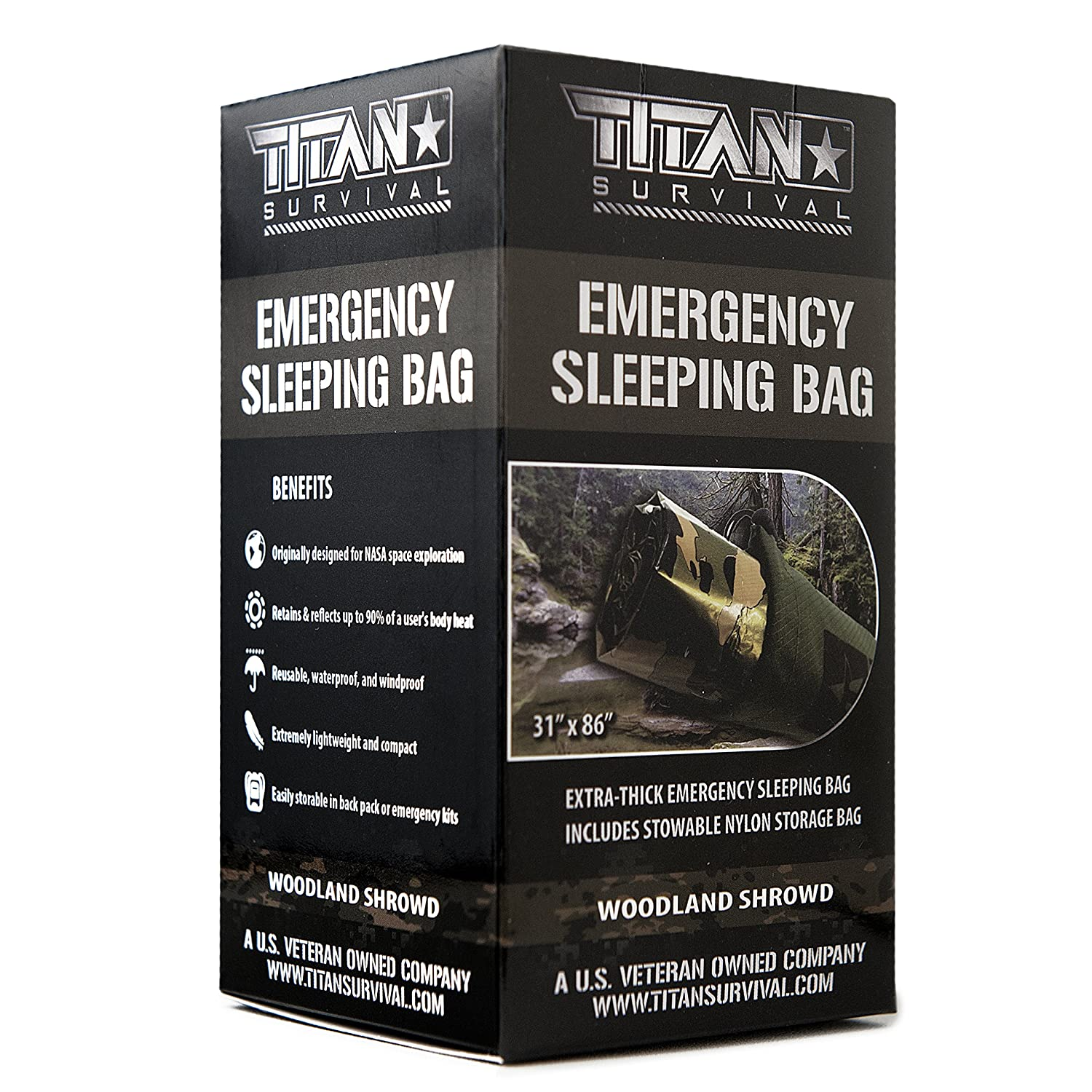 TITAN Extra-Thick Emergency Mylar Sleeping Bag | Designed for NASA Space Exploration and Heat Retention. Perfect for Survival Kits and Go-Bags. Includes Nylon Drawstring Bag and eBooks. Dark-Earth (28-000001) TITAN Paracord