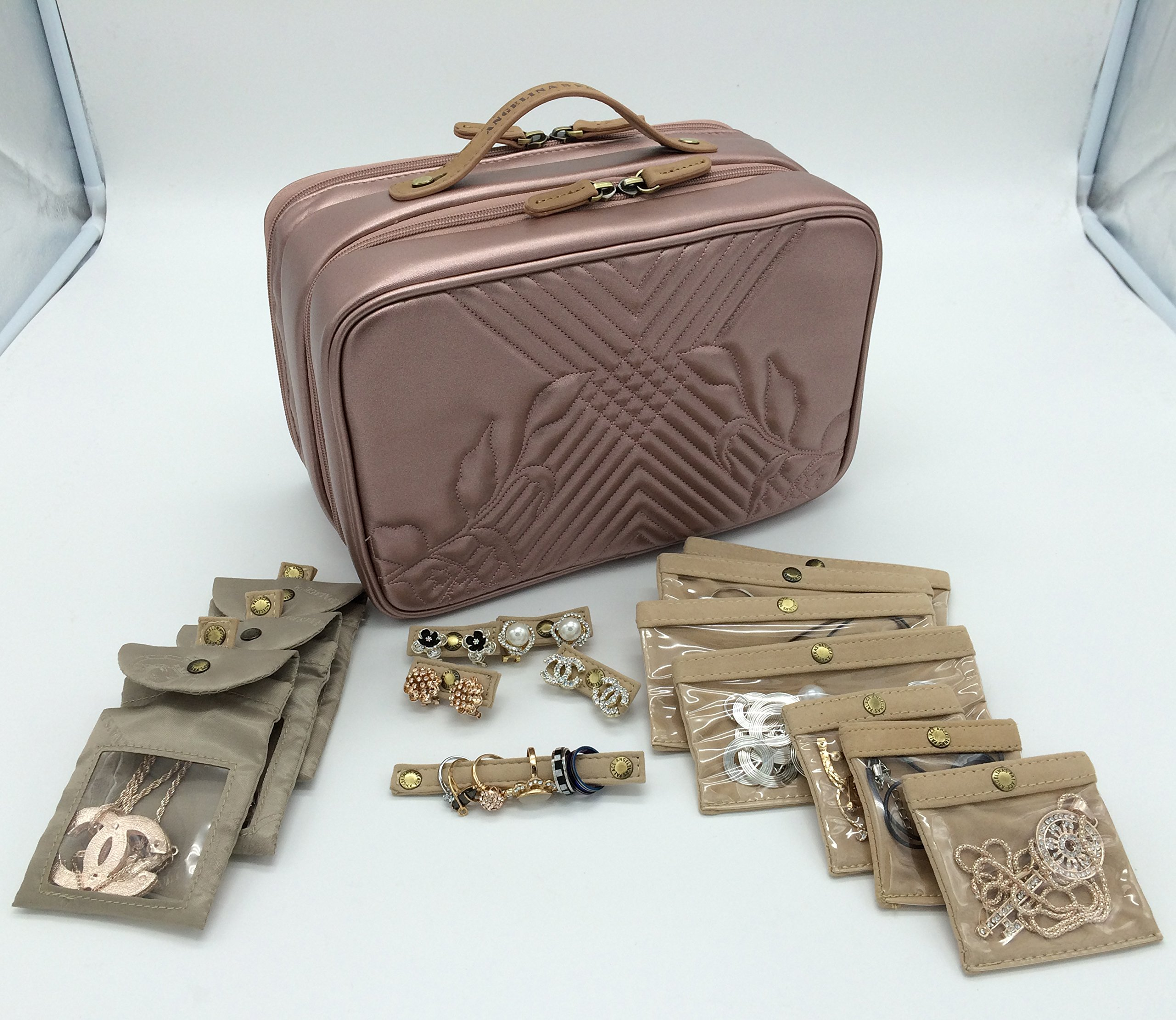 Angelina's Palace Beynac Large Jewelry Case travel organizer big capacity detachable holders and snapped pouches