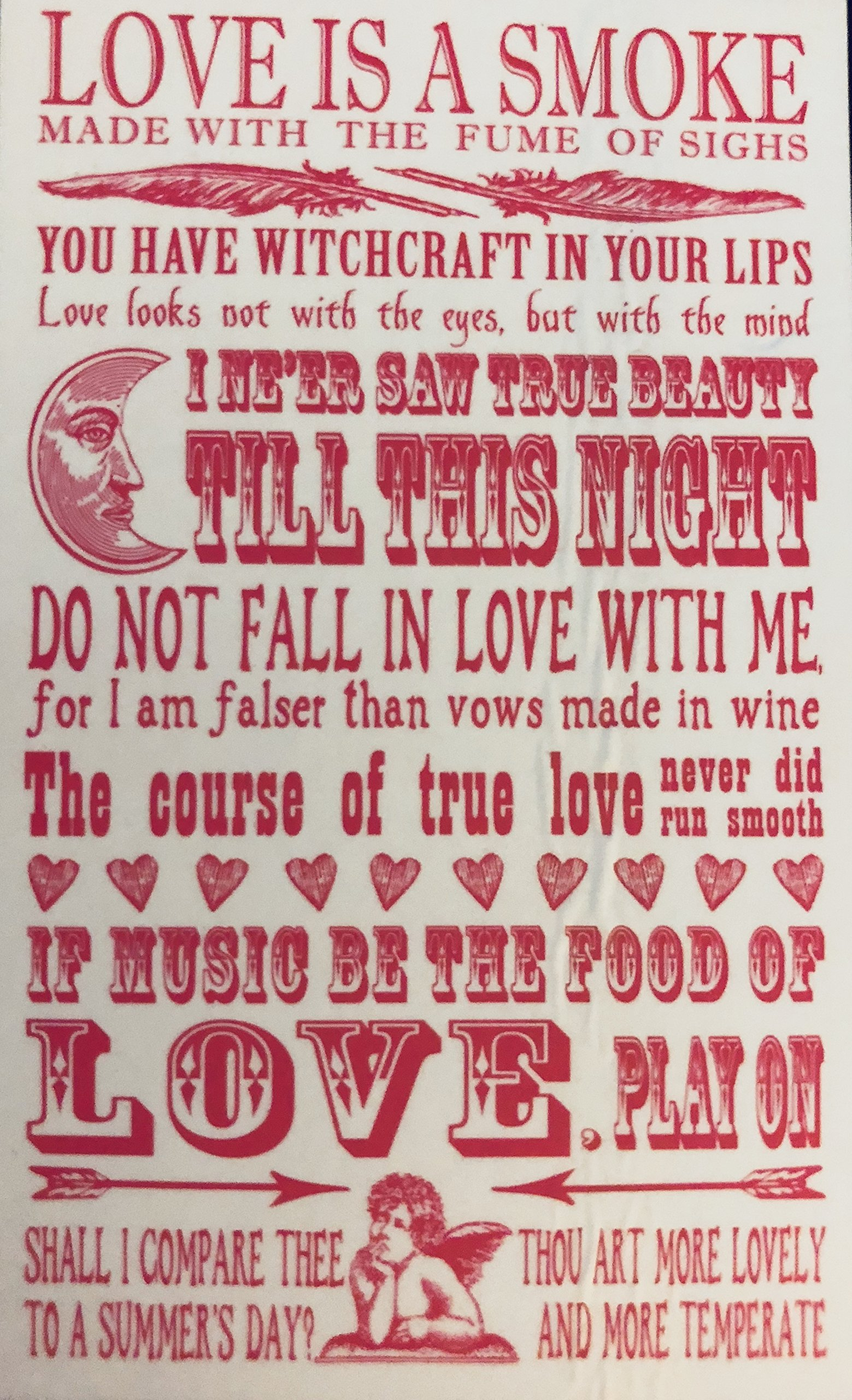Temple Island Collection Shakespeare Quotes on LOVE Tea Towel | 100% Cotton | 47 X 77cm by Temple island collection