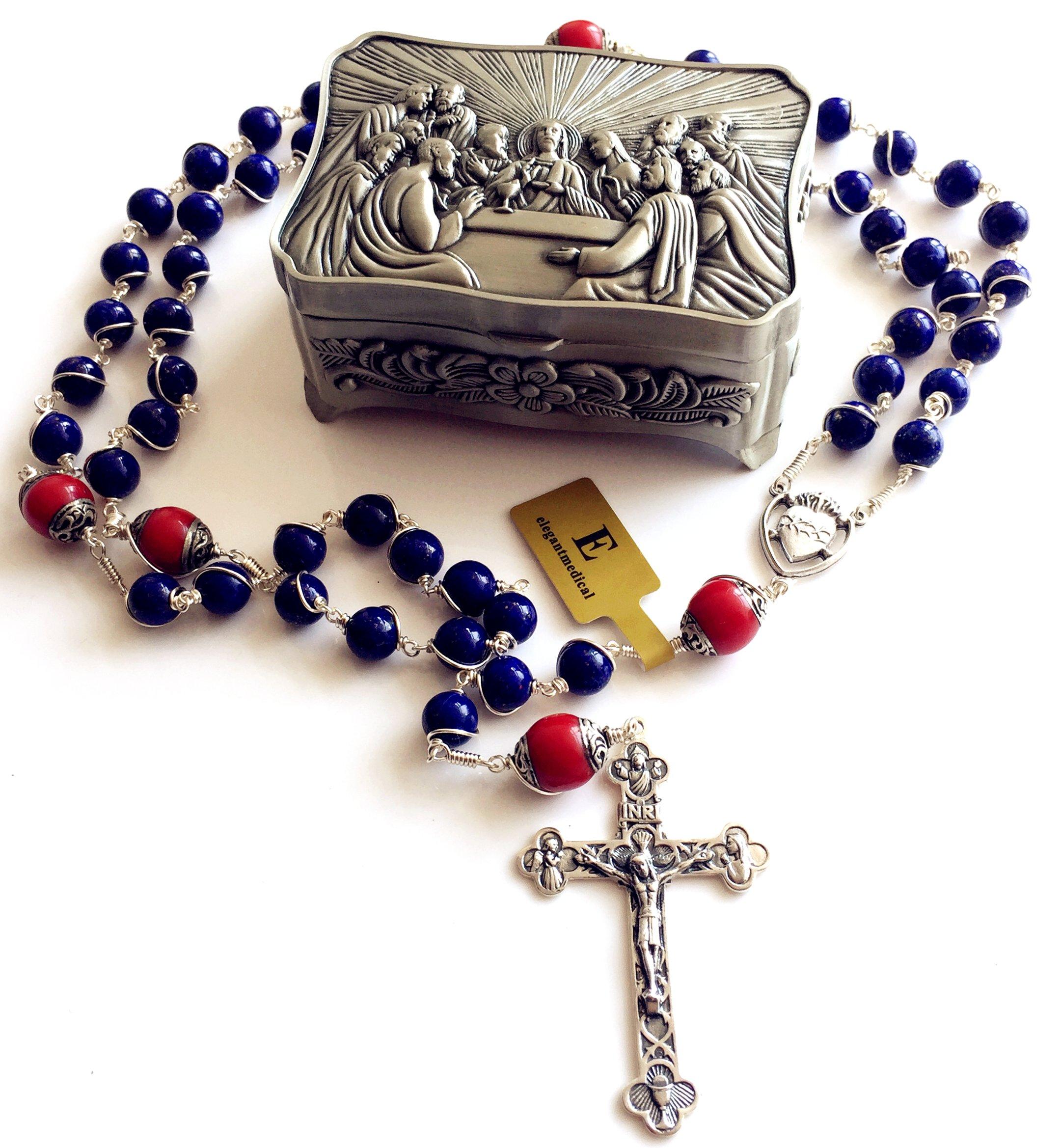 Handmade Sterling 925 Silver Lapis Lazuli Beads Rosary Cross Crucifix Catholic Necklace Gifts by elegantmedical (Image #2)