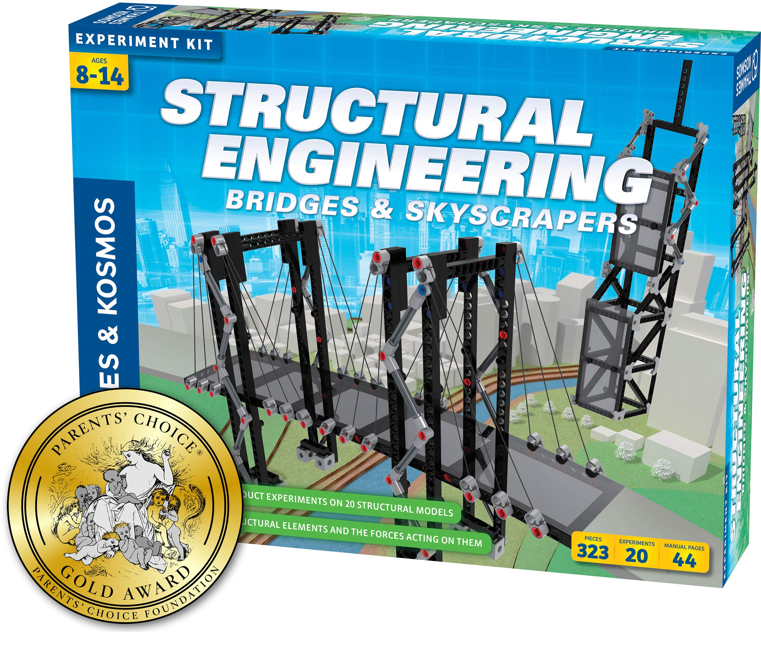 Thames & Kosmos Structural Engineering: Bridges & Skyscrapers | Science & Engineering Kit | Build 20 Models | Learn About Force, Load, Compression, Tension | Parents' Choice Gold Award Winner by Thames & Kosmos