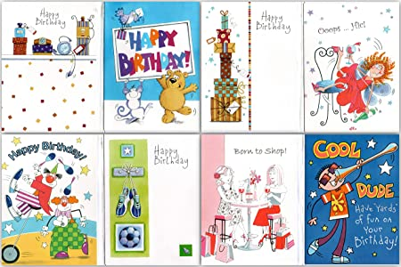 16 Assorted Childrens Birthday Cards Envelopes By Greetingles For