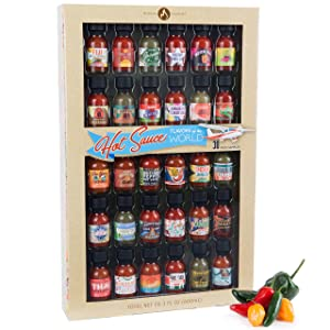 Thoughtfully Gifts, Flavors of the World Hot Sauce Sampler Gift Set, Inspired by International Hot Sauce Flavors, Set of 30