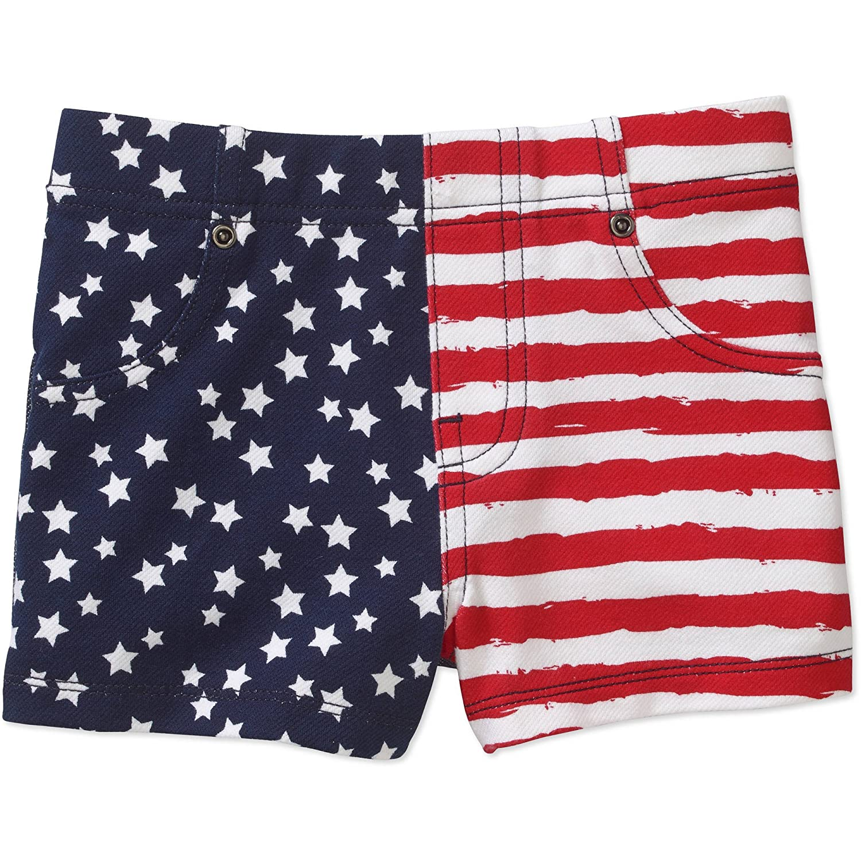 Americana Toddler Girls Flag Print Denim Shorts