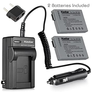 Kastar 2 Battery and Charger for Canon BP-208 Battery and Canon DC100 DC210 DC230 Cameras
