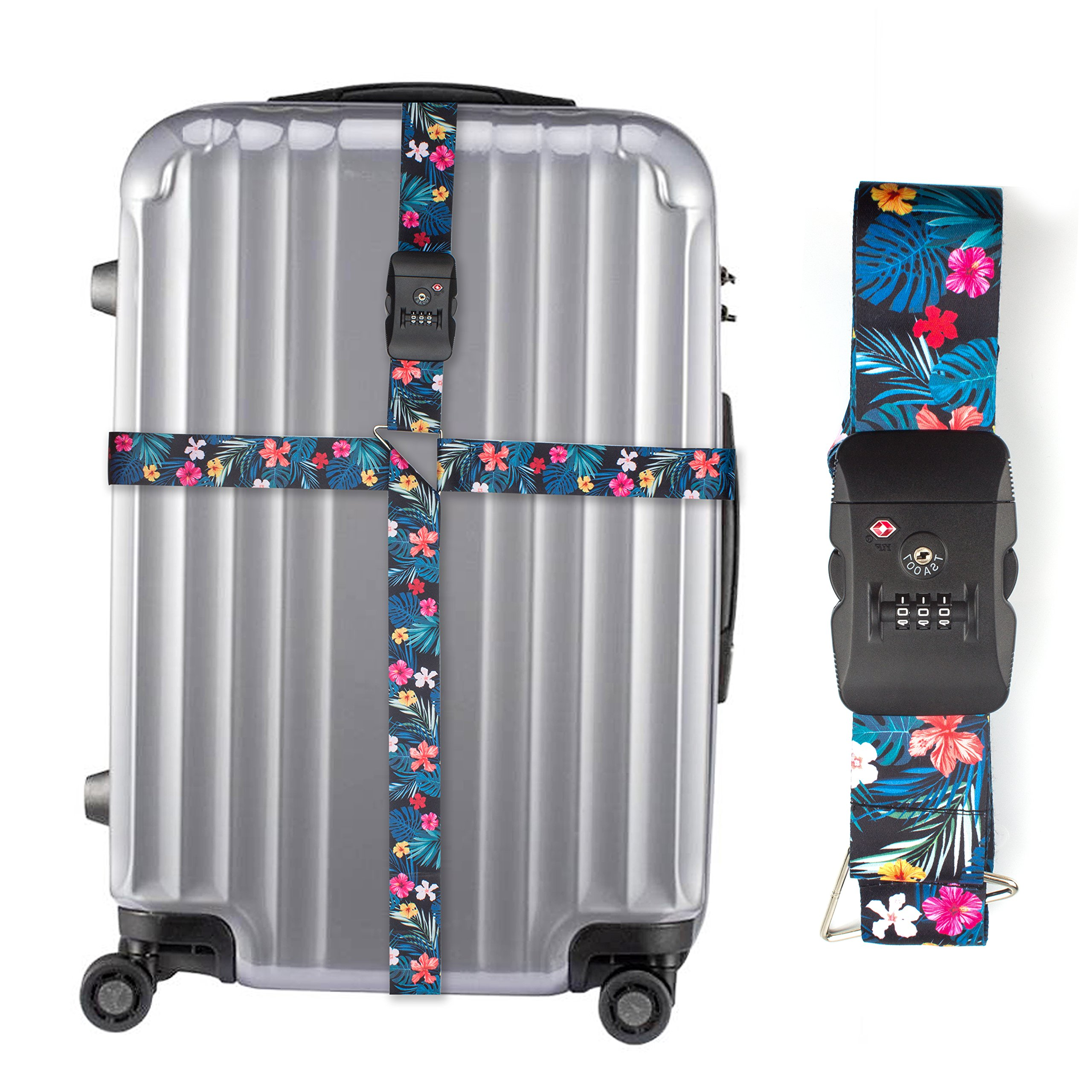 Luggage Suitcase Straps with TSA Approved lock – Long Cross Adjustable Suitcase Belts With Floral Design for Girls Women