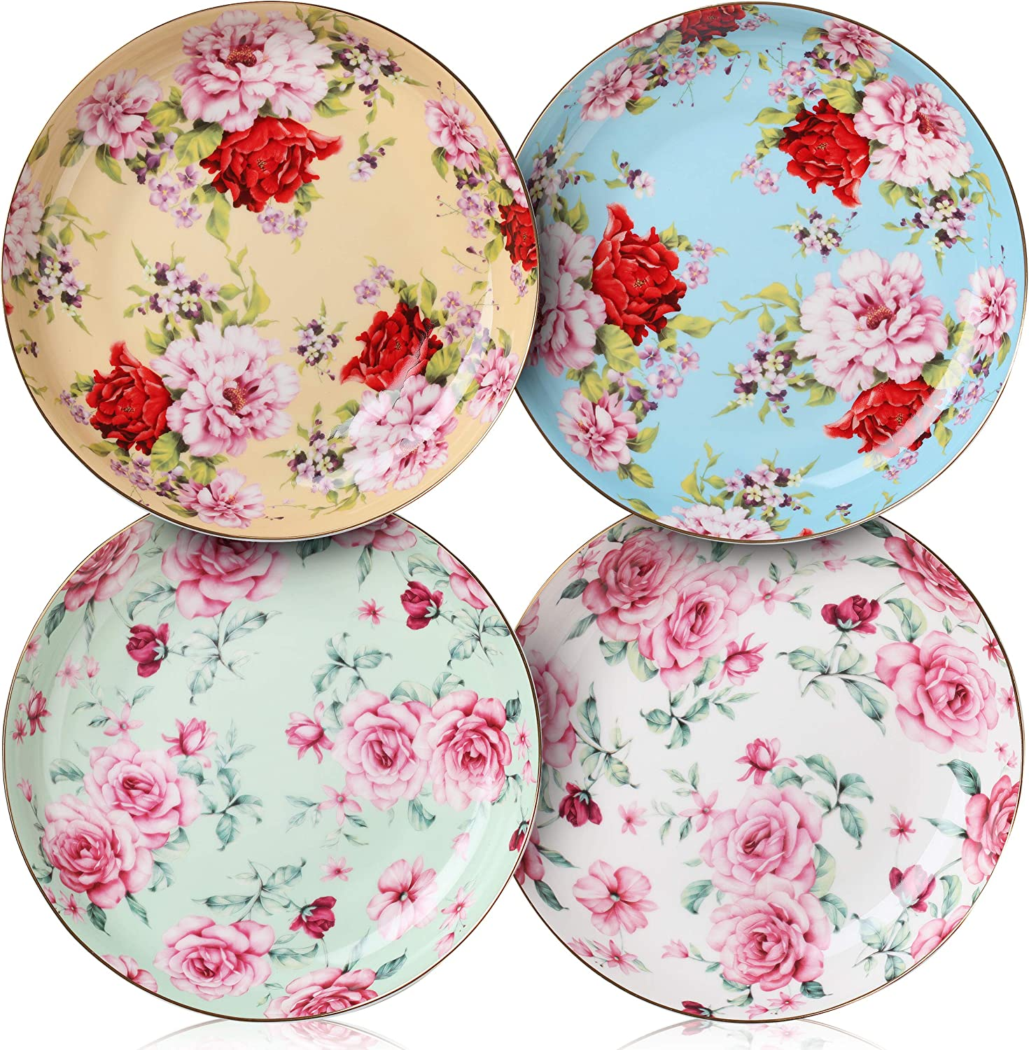 BTaT- Dessert Plates, 8 inch, Set of 4, Porcelain Bone China, Appetizer Plates, Floral Plates, Salad Plates, Small Plates, Small Plates Set, Small Dishes, Dinnerware, Salad Plates