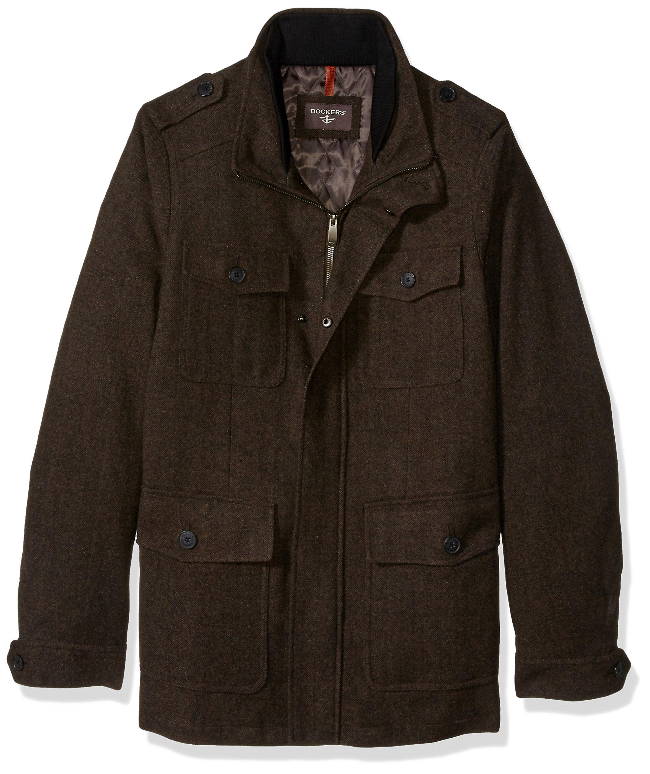 Dockers Men's Size Wool Fancy Four Pocket Military Jacket, Brown Herringbone, 2X-Large Tall